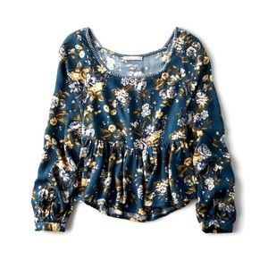 American Eagle Green Floral Boho Peasant Top